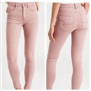 American Eagle Stretch Skinny Pink Jeans, Size 0